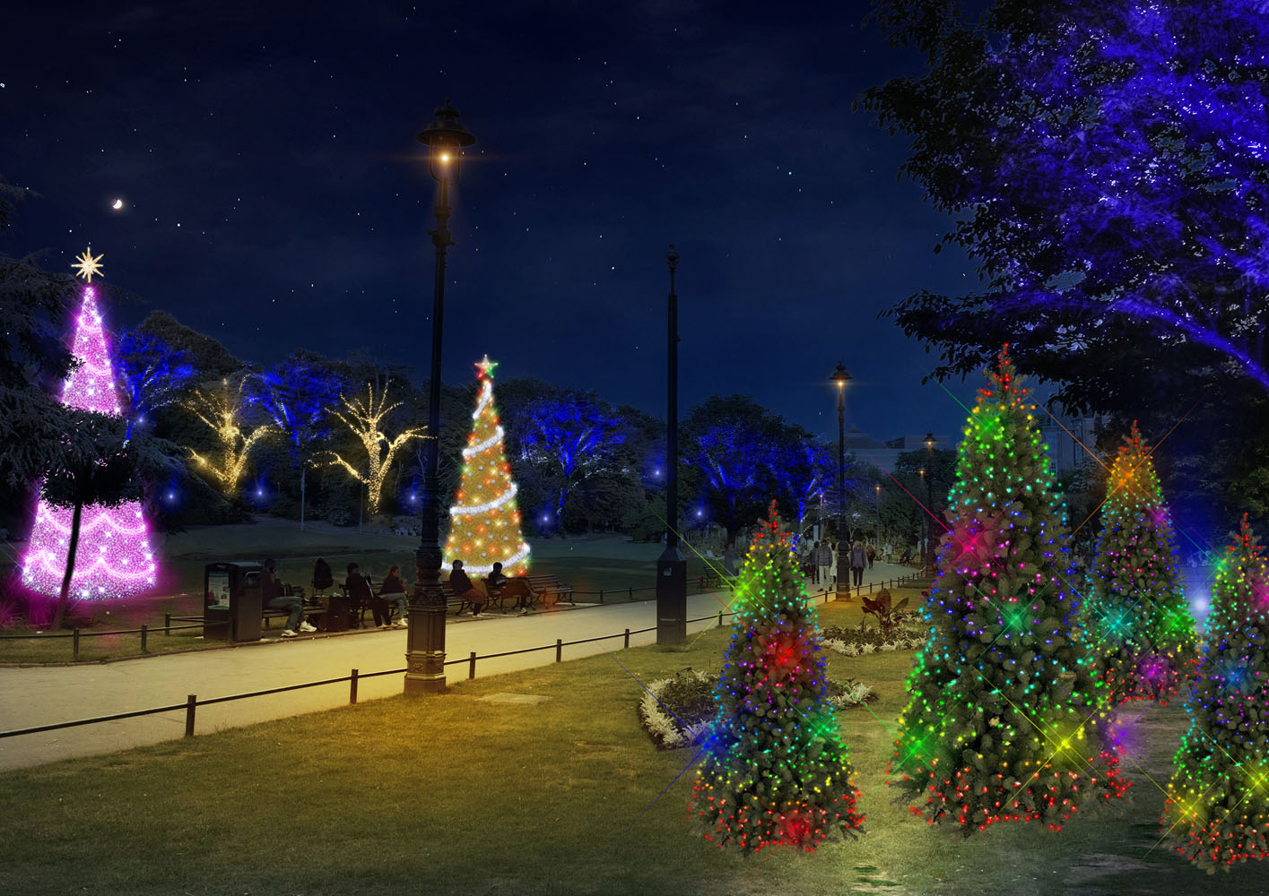 A mock up of illuminated Christmas Tree's in Bournemouth's Lower Gardens.