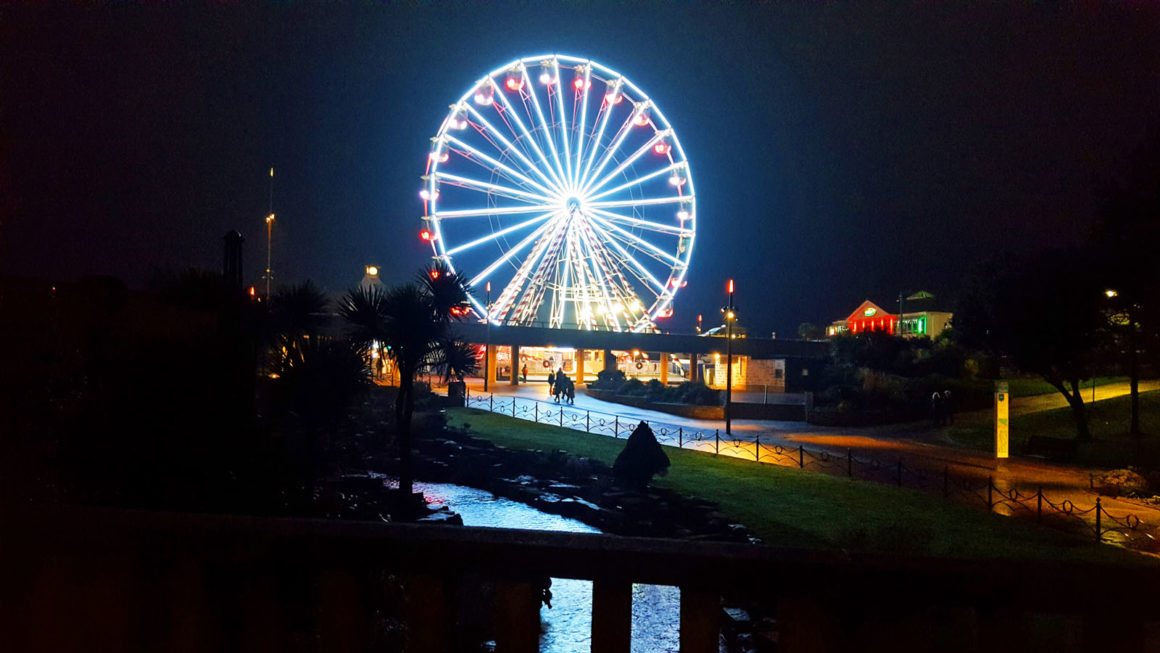 An illuminated Big Wheel ride at Bournemouth's Pier Approach.