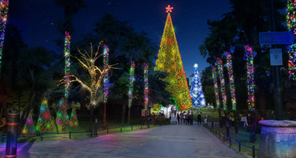 Giant illuminated Christmas Tree's in Bournemouth's Lower Gardens.