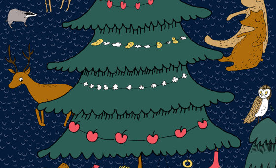 An illustrated Christmas Tree and animals to advertise the Night Tree event.