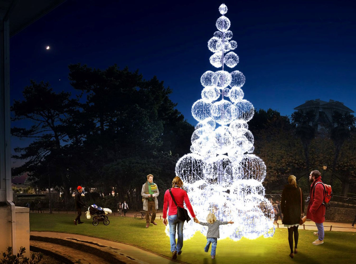 A mock up of a large Christmas tree made of sparkling balls.