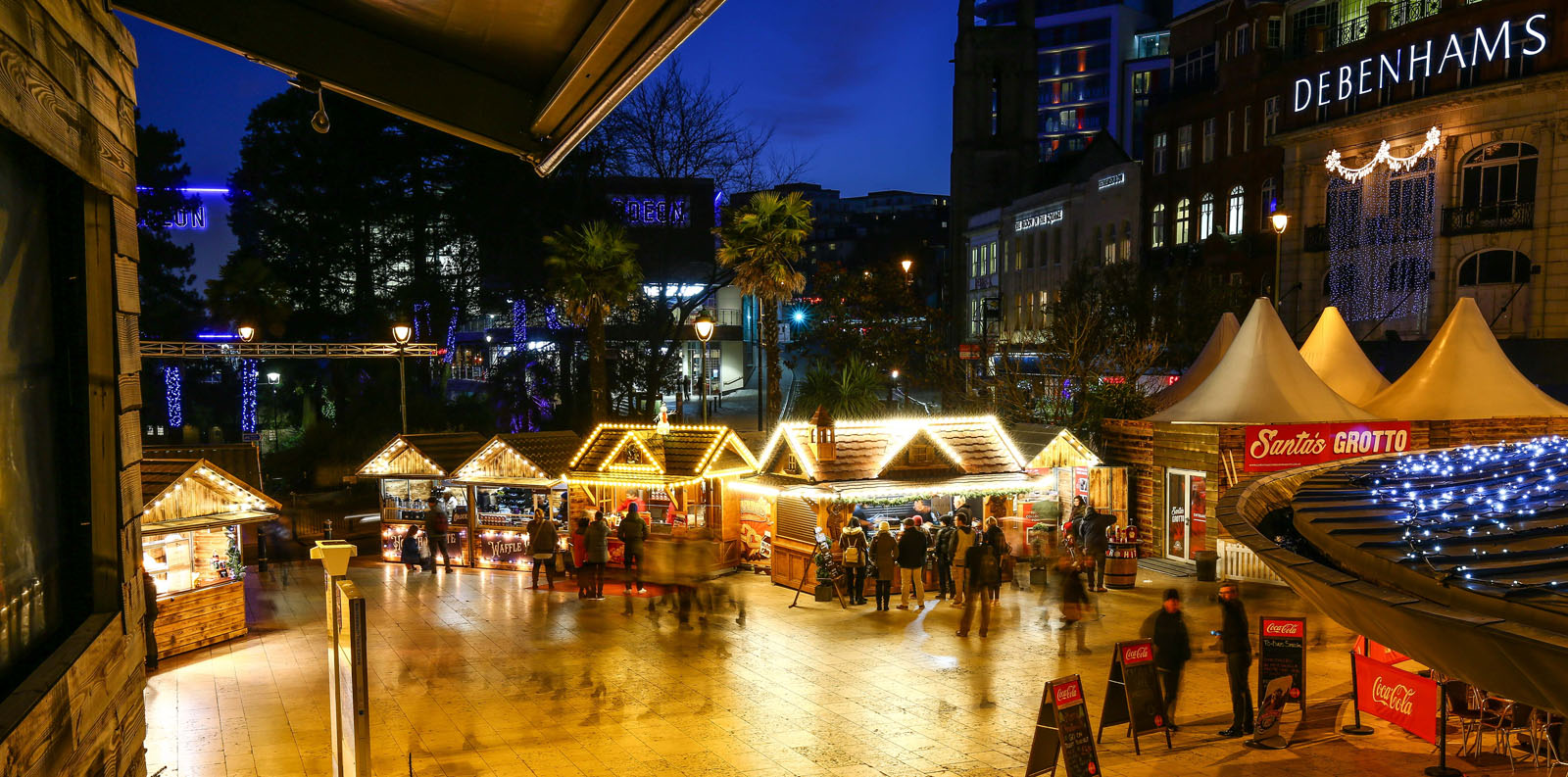 A night view of Bournemouth's Christmas Market.