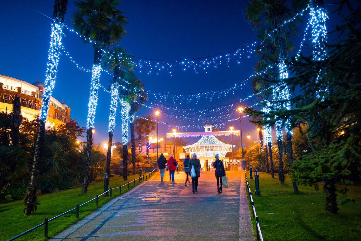 Christmas decorations illuminated in Bournemouth's Lower Gardens.