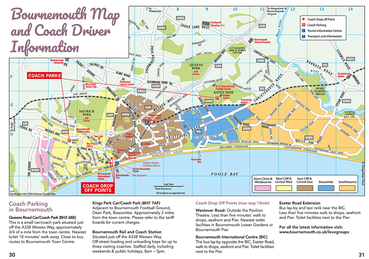 A Bournemouth Town Map for Coach Drivers.