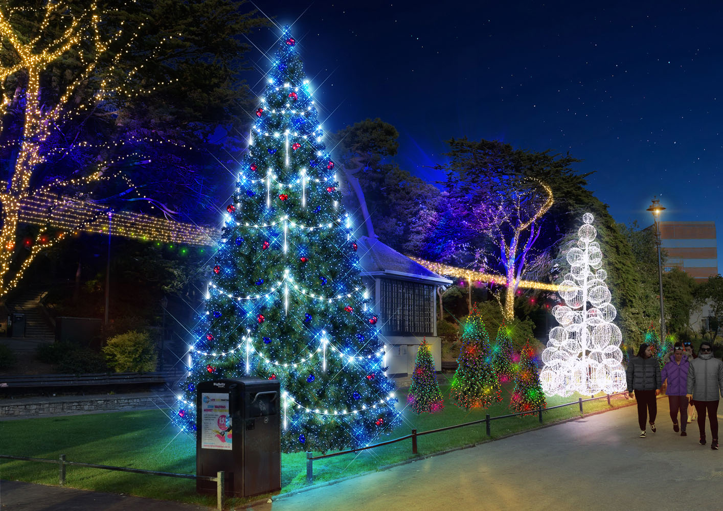 A mock up of illuminated Christmas Trees in Bournemouth's Lower Gardens.