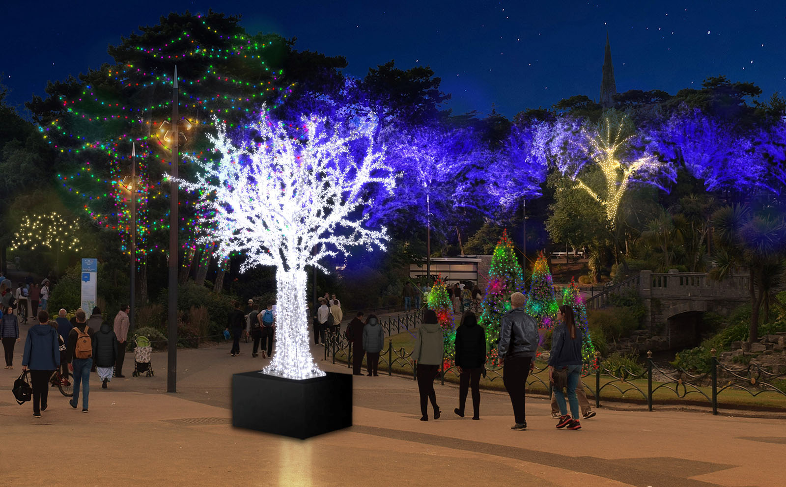 A mock up of Christmas Tree's in Bournemouth's Lower Gardens.