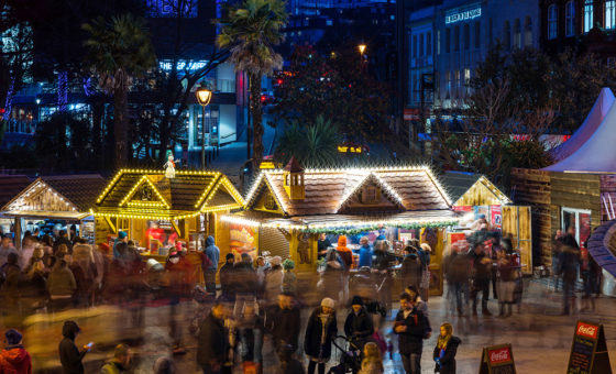 An high viewpoint image of Bournemouth's Alpine Christmas Market.