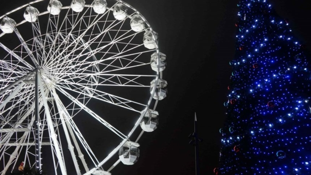Bournemouths Big wheel and Moscow Christmas tree