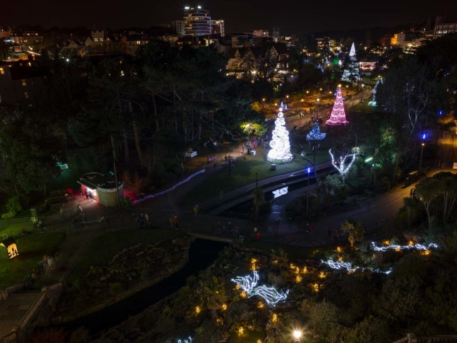 Aerial View of the Christmas Tree's illuminating the Trail at night