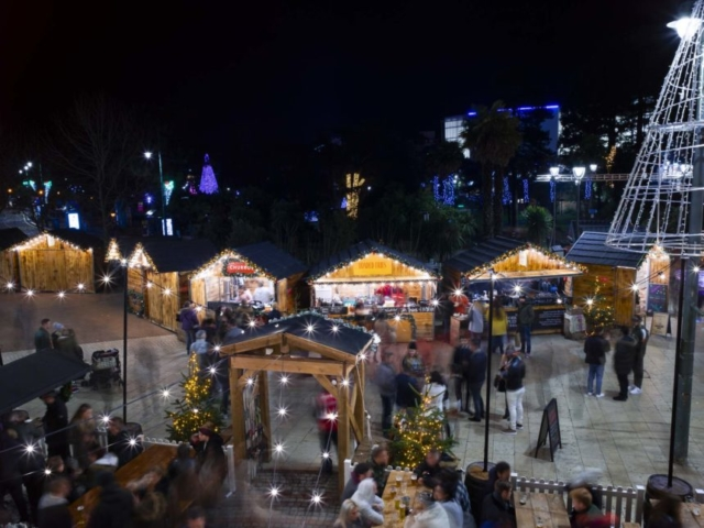 Long exposure of the Christmas markets in Bournemouth's Town Centre