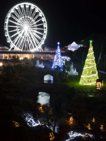 Bournemouths Big Wheel and Christmas Tree's glowing at night