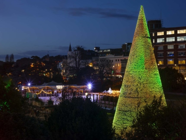 View's of the Feature Christmas Tree and the SKATE Ice rink