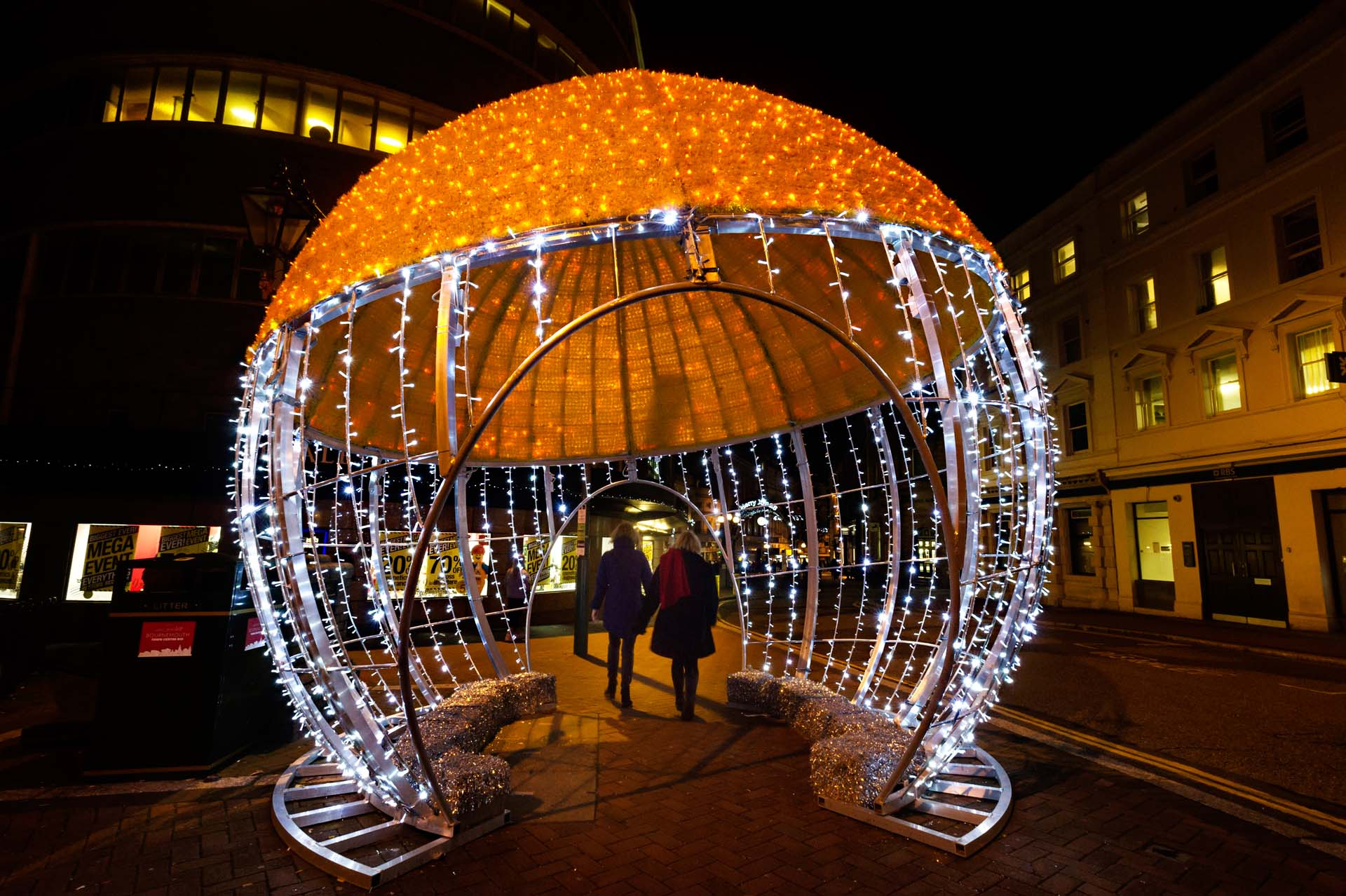Night time shot of the Giant Bauble in Beales place, Bournemouth