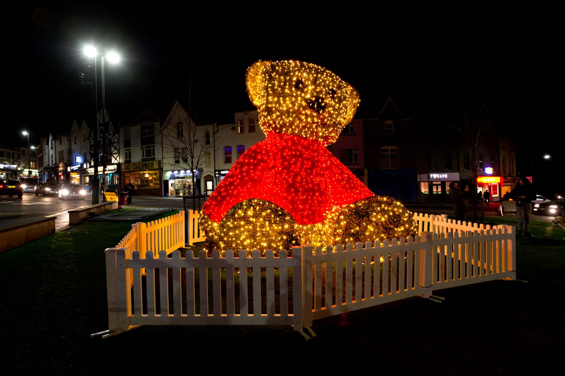 Giant Teddy Bear illuminating the night sky in Bournemouth's Triangle