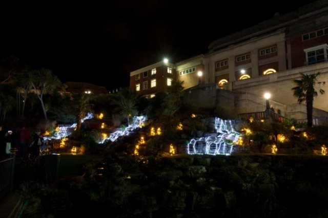 Bournemouth Gardens rockery all lit up for Christmas