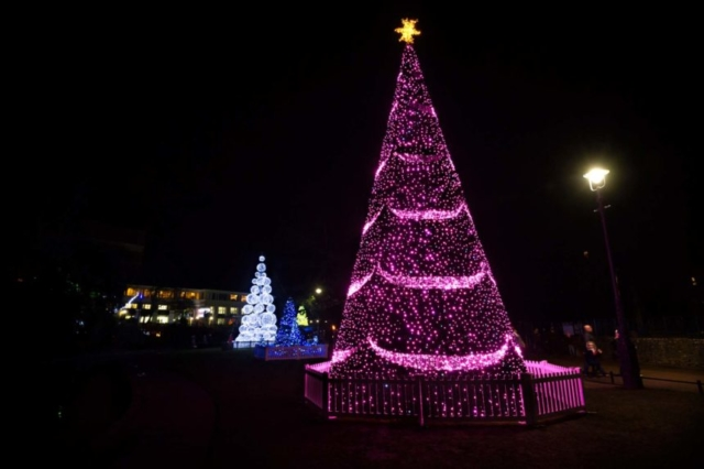 Warsaw Tree shining its bright pink lights in the night sky
