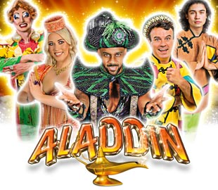 Aladdin Pantomime poster with actors and actresses posing in costume